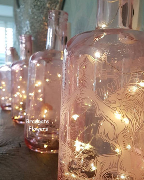Pink LED warner gin bottles