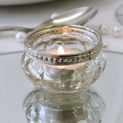 Vintage Beaded Tea Light Votive with tea light