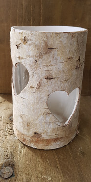 16cm Rustic Bark Heart cut out vases