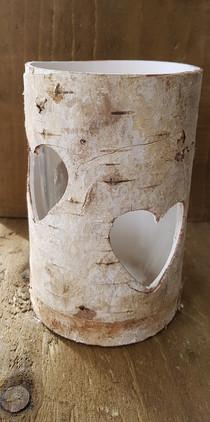 16cm Rustic Bark Heart cut out vases