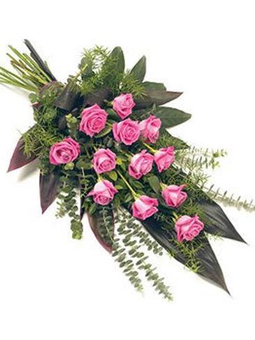 12 Pink roses sheaf