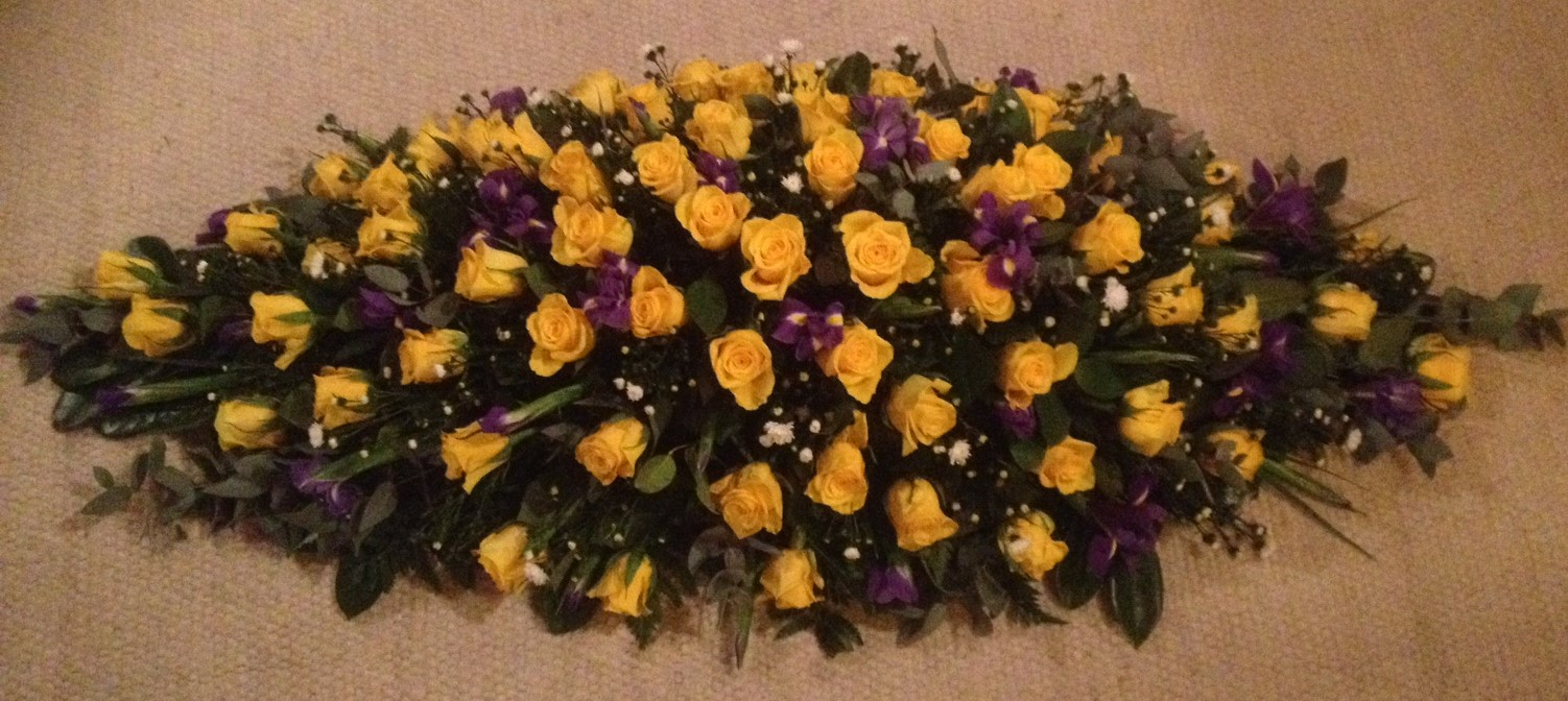Yellow roses casket