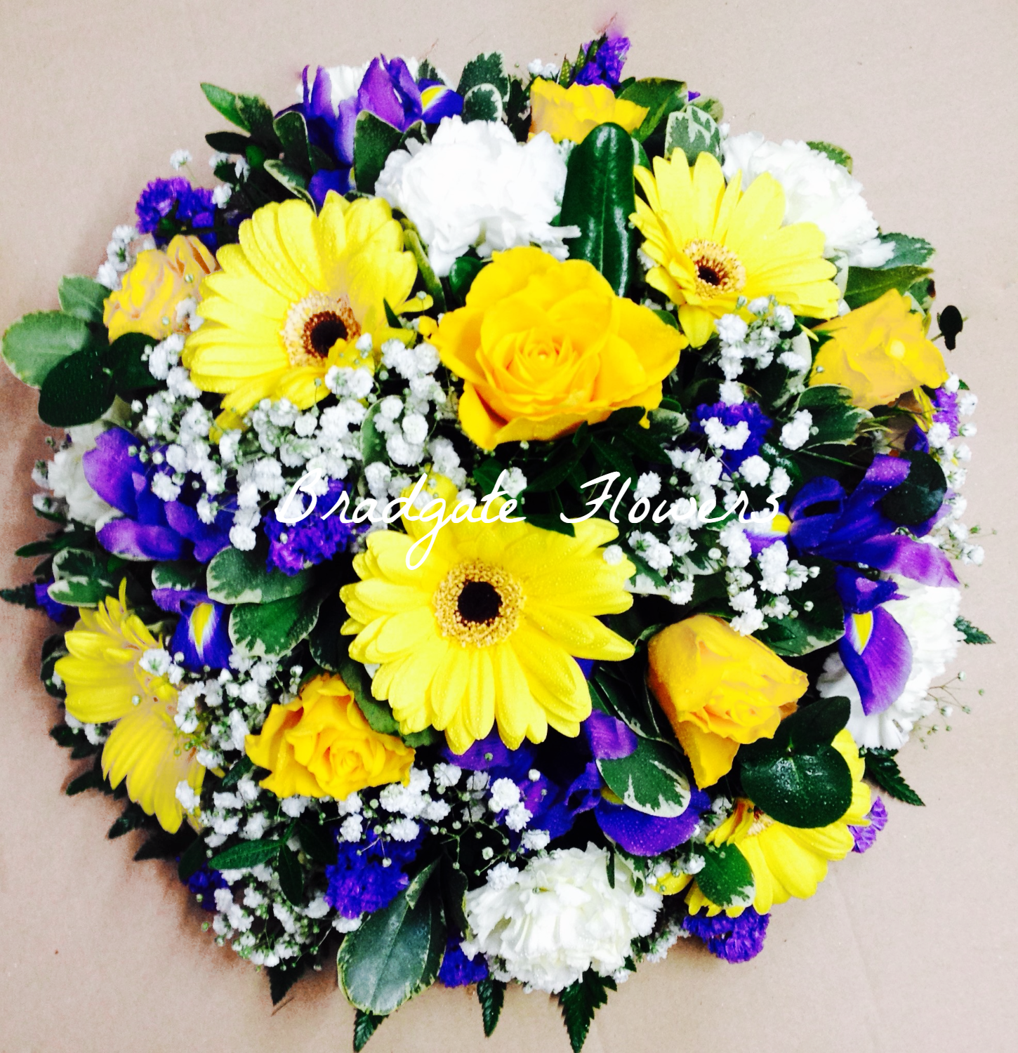 funeral yellow blue and white posy