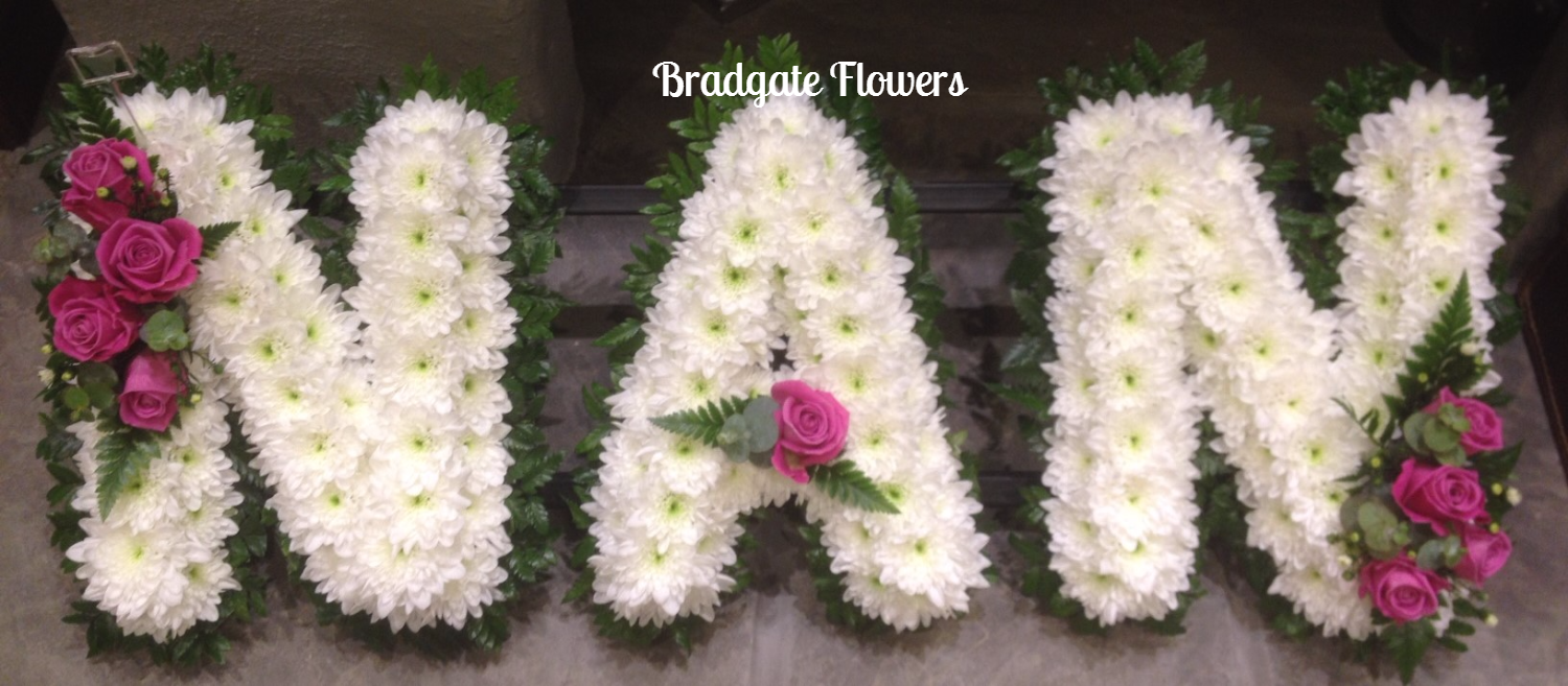 NAN funeral lettering, ribbon or natural fol