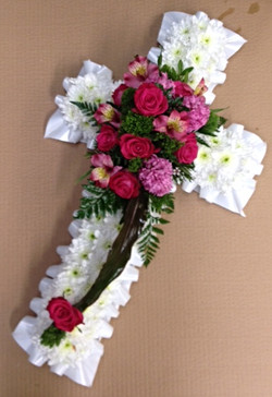 funeral flowers pink white cross
