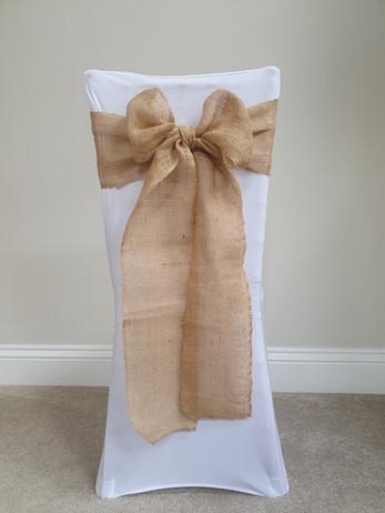 Hemp Bow Sash & White Chair Cover