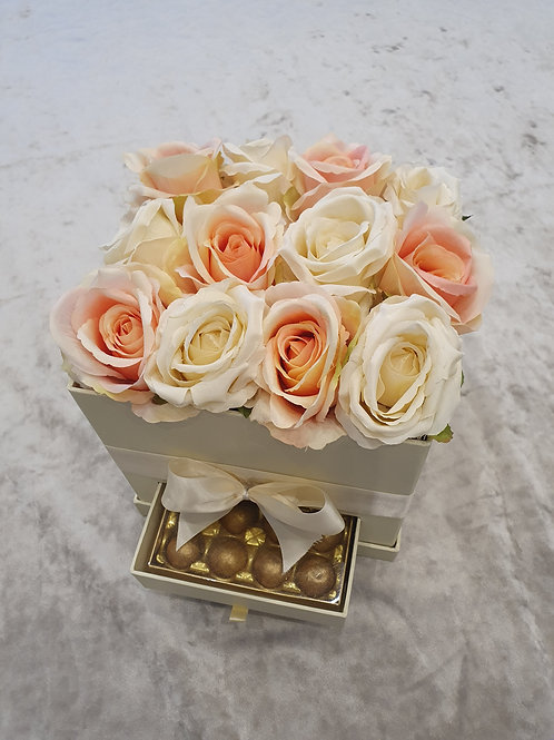Light coral & ivory faux rose gift box