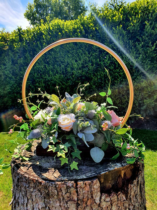 RUstic Gold hoop Stand with florals