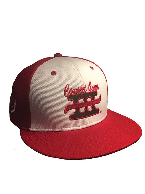 Red and White Cap with Connect Game Apparel Logo