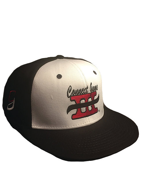 Black and White Cap with Red and Black Connect Game Apparel logo
