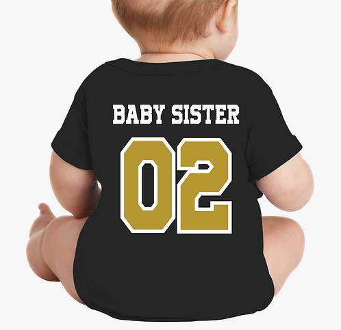 Sister Short sleeve onesie Jersey (Black)