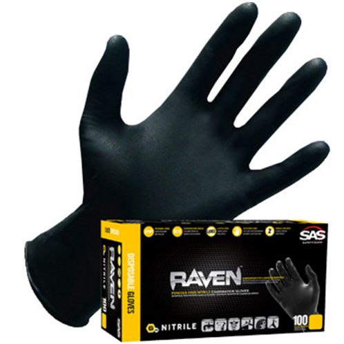 SAS Raven Glove-LARGE Black Nitrile 100 gloves/box