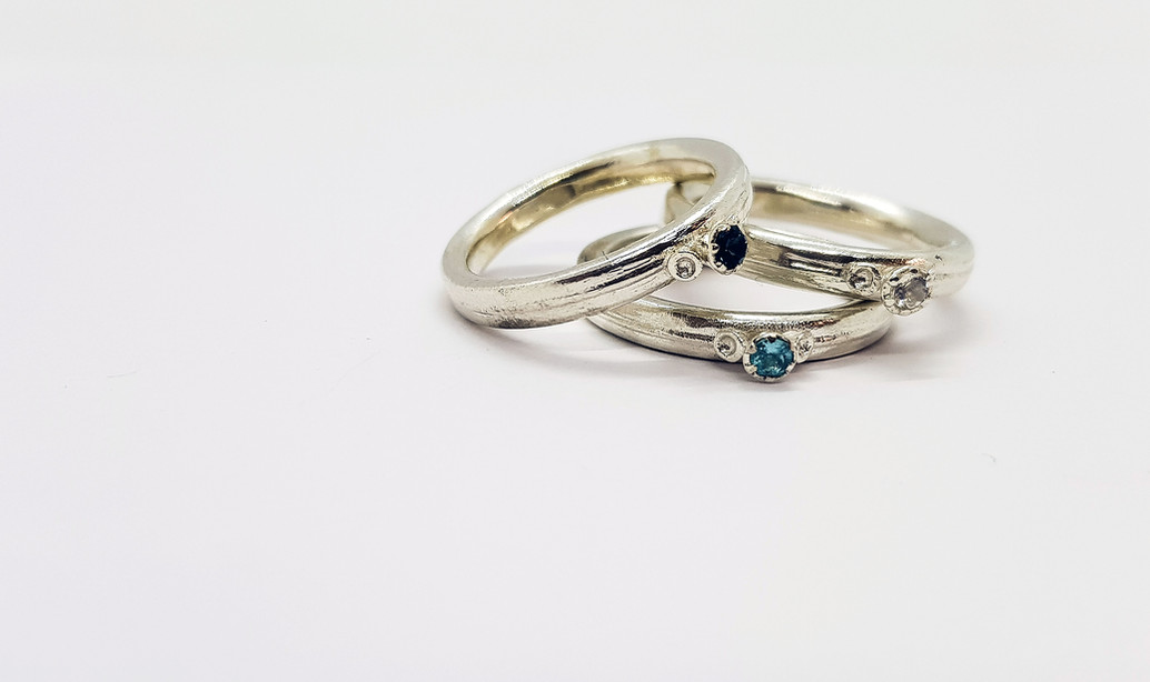 Rebecca Oldfield 3 Point Chaotic Cluster Silver Rings