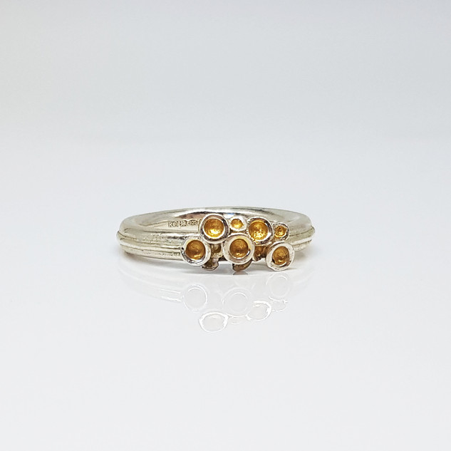 Rebecca Oldfied Quater Chaotic Cluster Ring With 24ct Gold