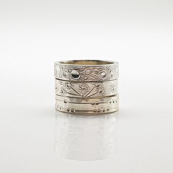 Rebecca Oldfield Chased Lines Collection Rings Trio