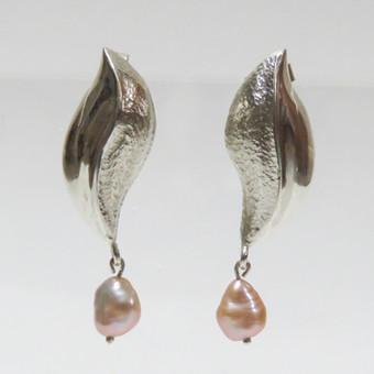 Rebecca Oldfield Pearl & Repousse Earrings