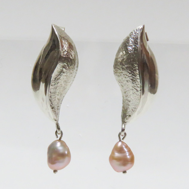 Rebecca Oldfield Pearl & Repousse Earrings