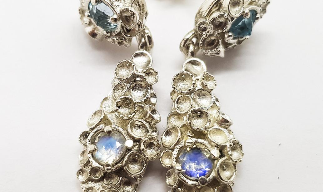 Rebecca Oldfield Gemset Chaotic Cluster Drop Earrings