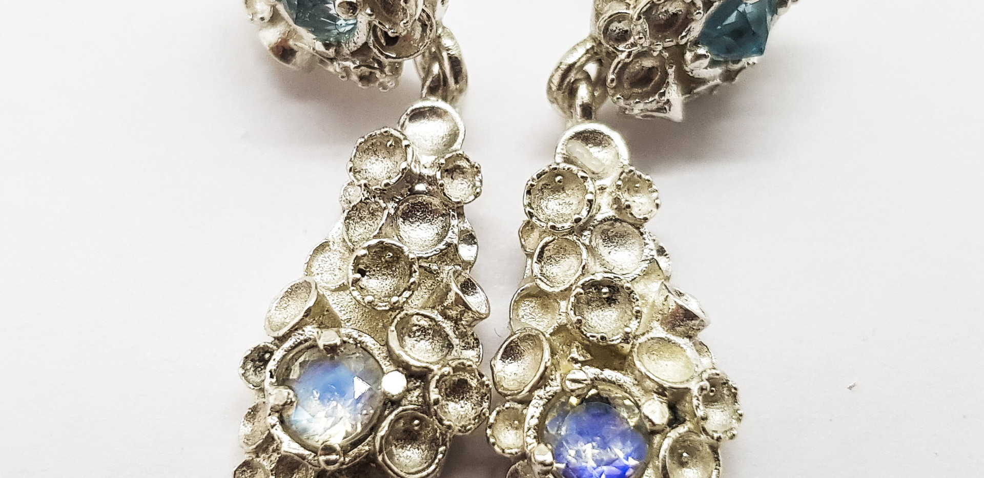 Rebecca Oldfield Gemset Chaotic Cluster Drop Earrings
