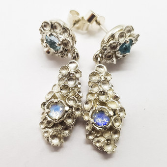 Rebecca Oldfield Moonstone Chaotic Cluster Earrings