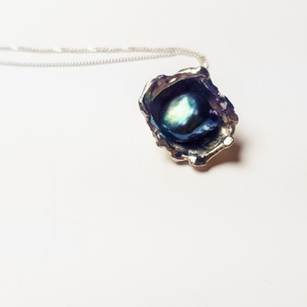 Rebecca Oldfield Perfectly Imperfect Pendant With Peacock Pearl