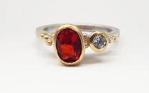 Rebecca Oldfield Fire Opal, Diamond & Alloyed 9ct Gold Bespoke Engagement Ring