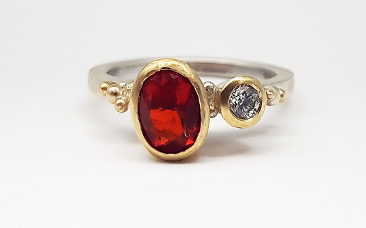 Rebecca Oldfield Fire Opal, Diamond & Alloyed 9ct Gold Bespoke Engagement Ring