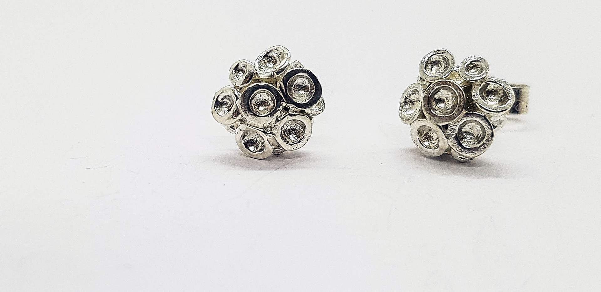 Rebecca Oldfield Miniature Silver Chaotic Cluster EarStuds