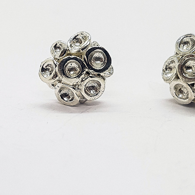 Rebecca Oldfield Miniature Silver Chaotic Cluster Studs