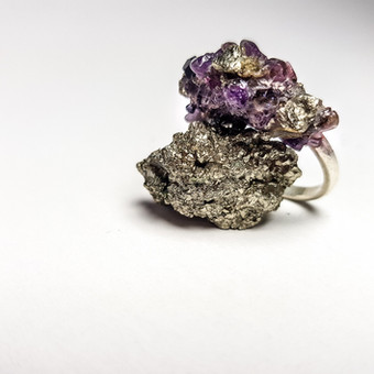 Rebecca Oldfield Crushed Crystal Ring - Amethyst