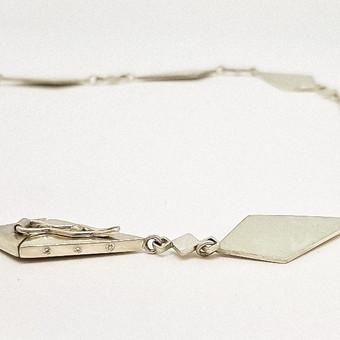 Rebecca Oldfield Diamond & Silver Geometric Necklace