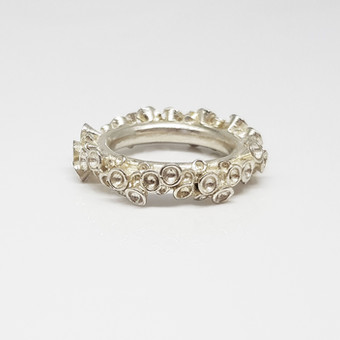 Chaotic Cluster Silver Ring
