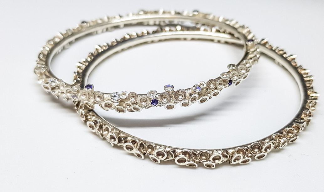 Rebecca Oldfield Chaotic Cluster Silver Bangles