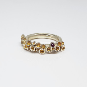 Rebecca Oldfied Semi Chaotic Cluster Ring With Garnet Gemstone & 24ct Gold Accents