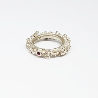 Chaotic Cluster Silver Ring Set With Ruby Gemstone