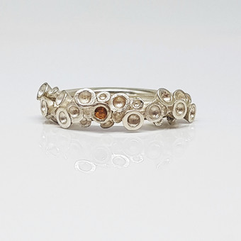 Rebecca Oldfield Semi Chaotic  Cluster Silver Ring With Mandarin Garnet Gemstone