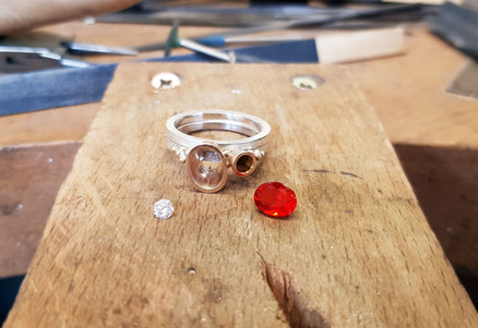 Rebecca Oldfield Fire Opal Bespoke Engagement Ring At The Bench