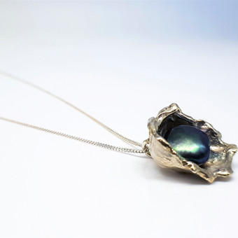 Rebecca Oldfield Perfectly Imperfect Peacock Pearl Pendant