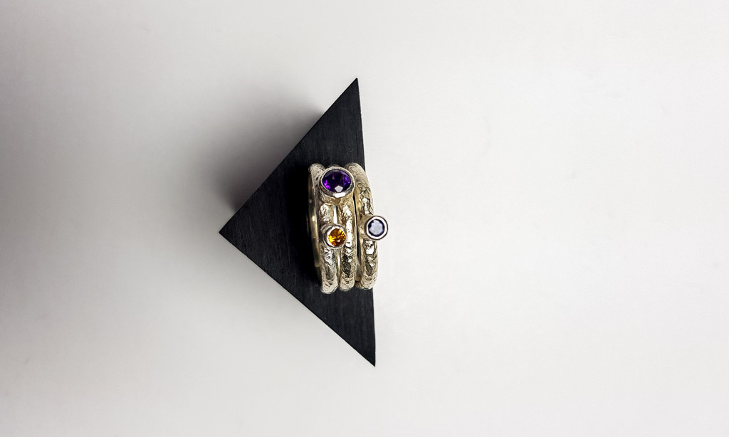 Rebecca Oldfield Stackable Textured Silver Rings