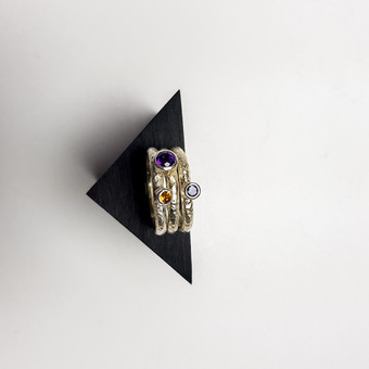 Rebecca Oldfield Trio Of Textured Stackable Rings