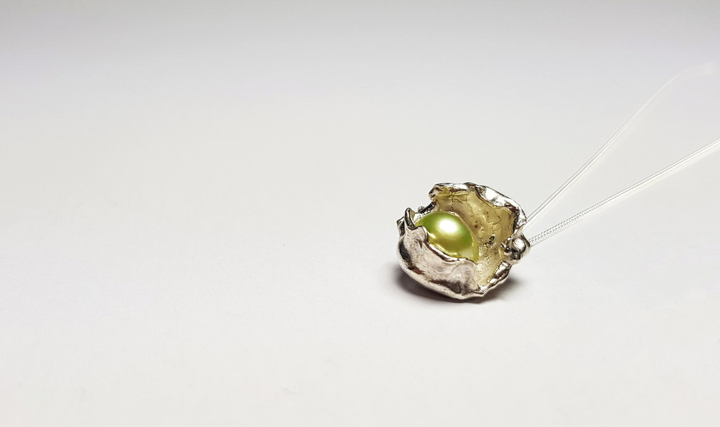Rebecca Oldfield Lime Green Pearl Perfectly Imperfect Pendant