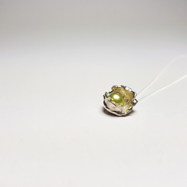 Rebecca Oldfield Perfectly Imperfect Pendant With Lime Green Pearl