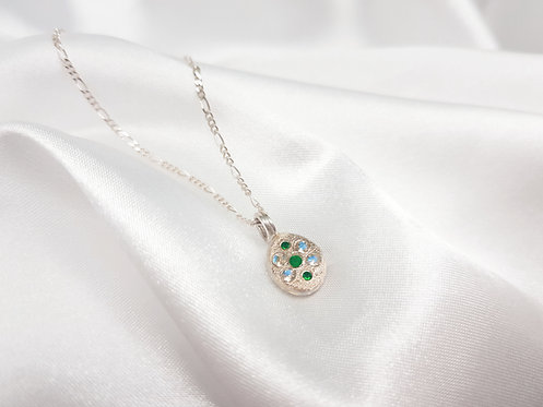 Sterling Silver Blobby Pendant Featuring Round Emeralds & Moonstones.