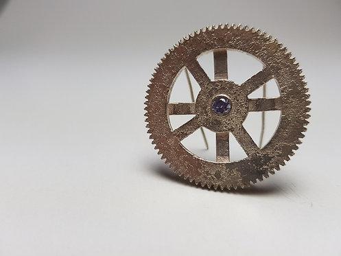 clockwork, brooch,amethyst, jewellery, contemorary, silver, cardiff, silversmith, cardiff jeweller, silversmiths cardiff