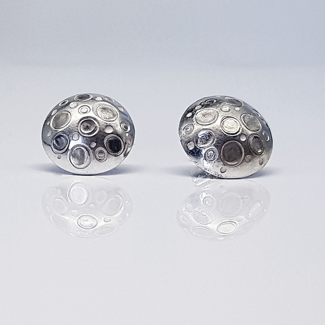 Rebecca Oldfield Chased Circles Domed Earrings