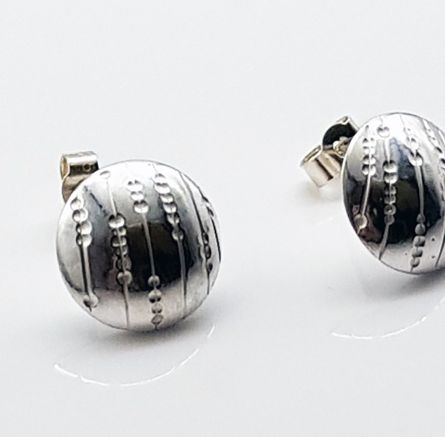 Rebecca Oldfield Chased Lines Collection - Chased Lines & Dots Domed Earrings