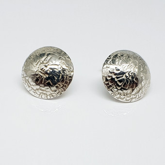 Rebecca Oldfield Chased Structures Domed Earrings