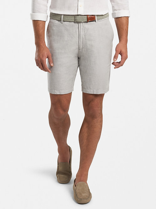 Peter Millar Puppytooth Linen-Cotton Shorts- Gale Grey