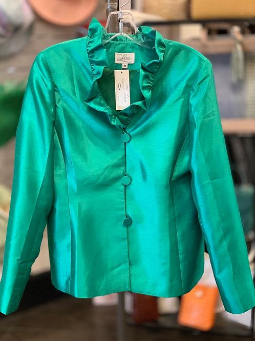 Lisa Ruffled Neck Jacket- Green