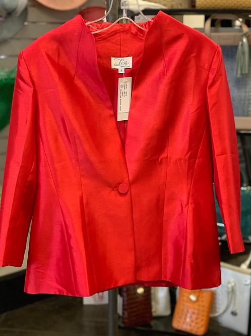 Lisa Self Collar Jacket- Red